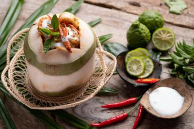 Steamed red curry with seafood in coconut