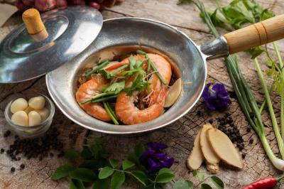 Baked prawns with vermicelli