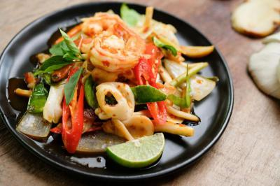 Hot and Sour Seafood Stir fried